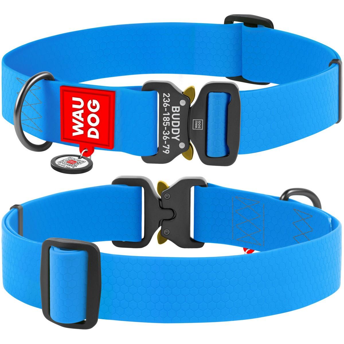 Нашийник для собак водостійкий WAUDOG Waterproof c QR паспортом, металева пряжка-фастекс, блакитний XXL (ширина 40 мм, довжина 43-70см)