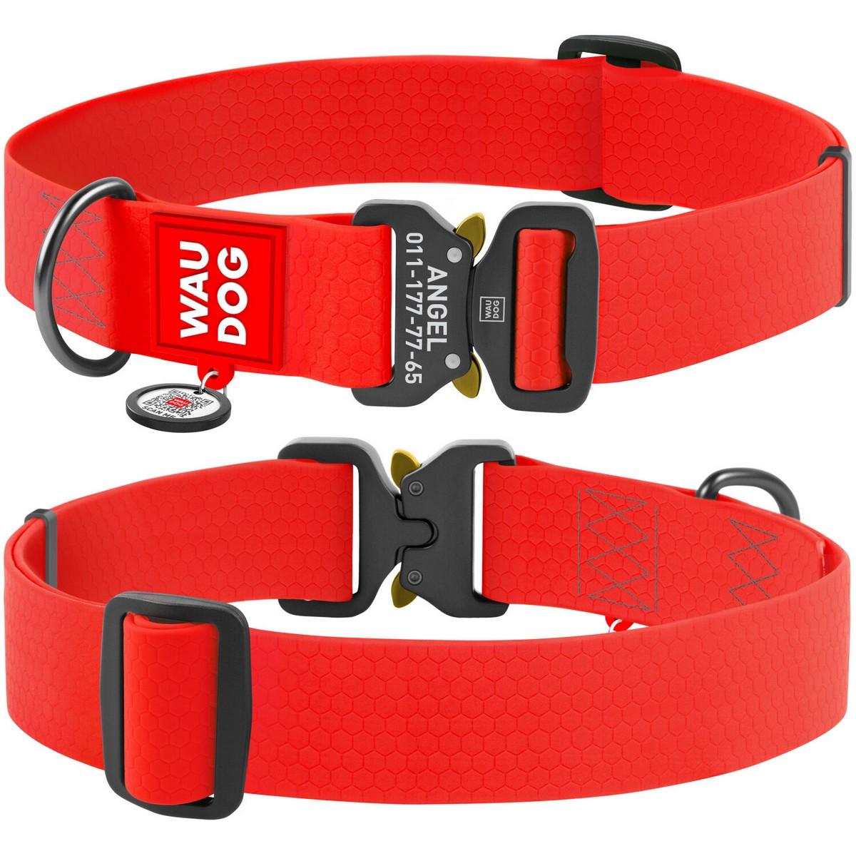 Нашийник для собак водостійкий WAUDOG Waterproof c QR паспортом, металева пряжка-фастекс, червоний XXL (ширина 40 мм, довжина 43-70см)