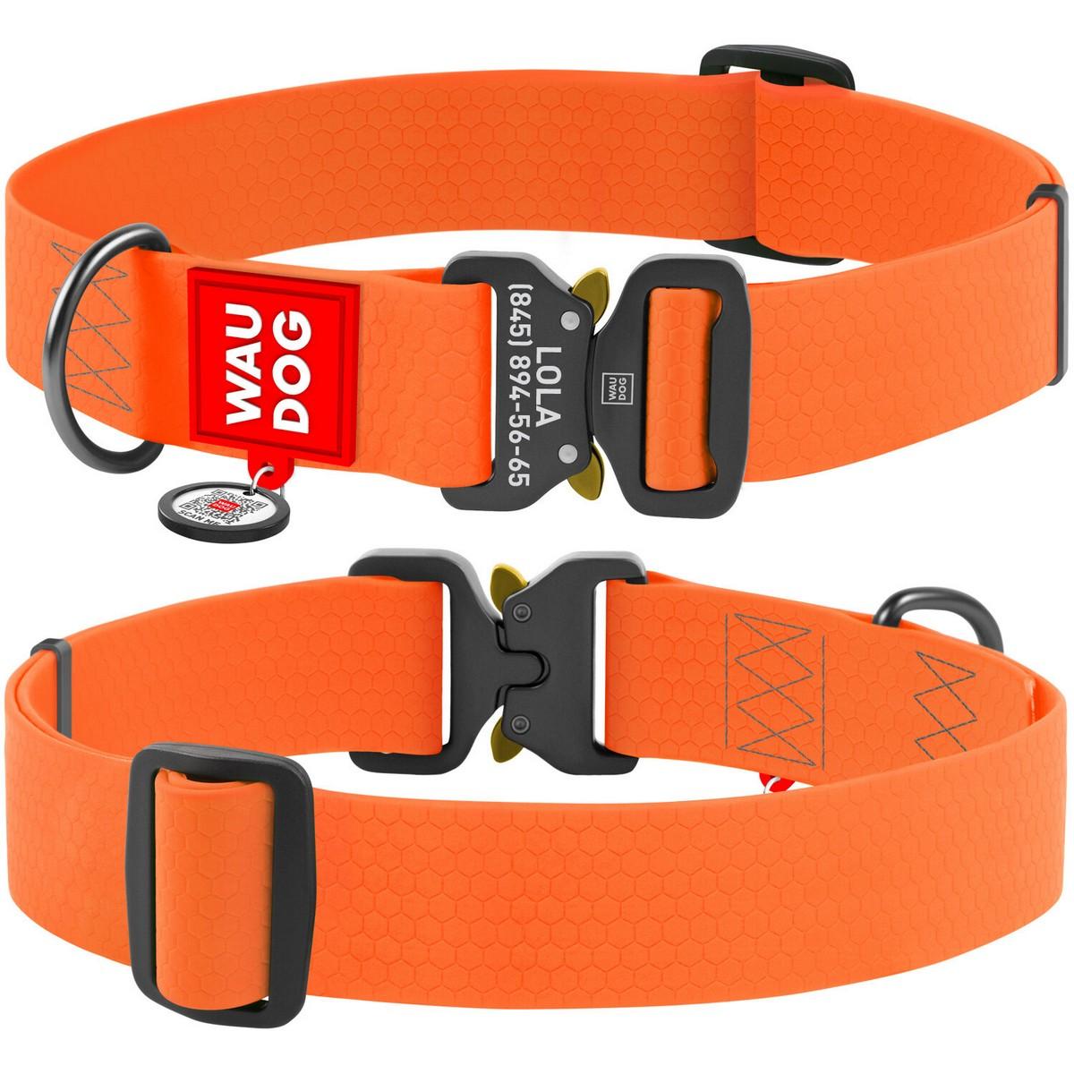 Нашийник для собак водостійкий WAUDOG Waterproof c QR паспортом, металева пряжка-фастекс, помаранчевий XXL (ширина 40 мм, довжина 43-70см)
