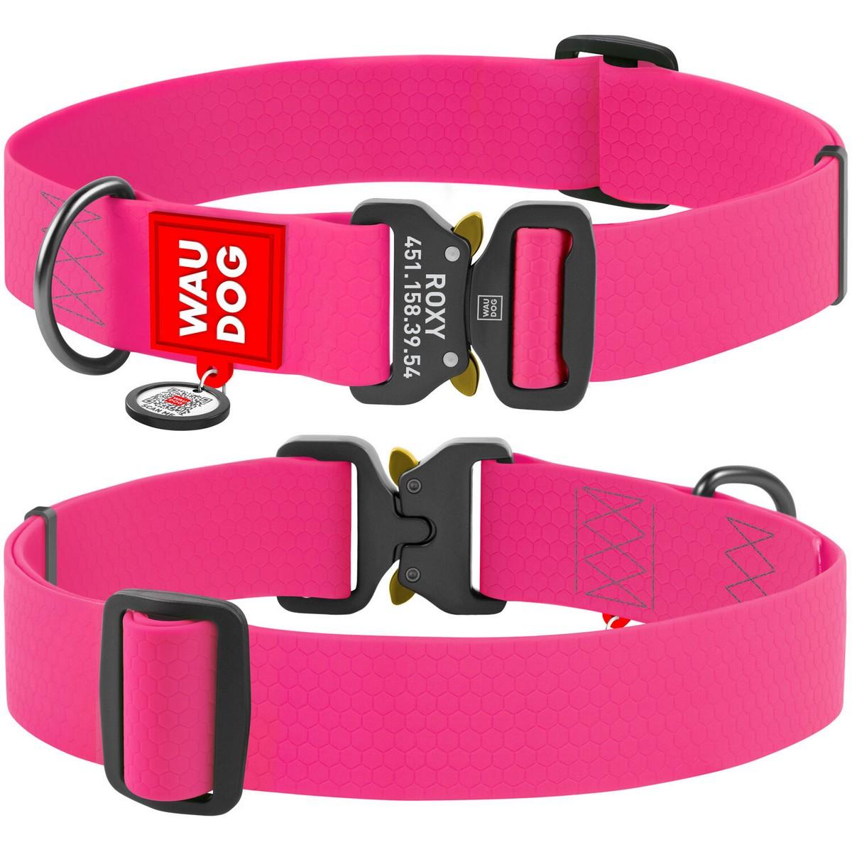 Нашийник для собак водостійкий WAUDOG Waterproof c QR паспортом, металева пряжка-фастекс, рожевий XXL (ширина 40 мм, довжина 43-70см)