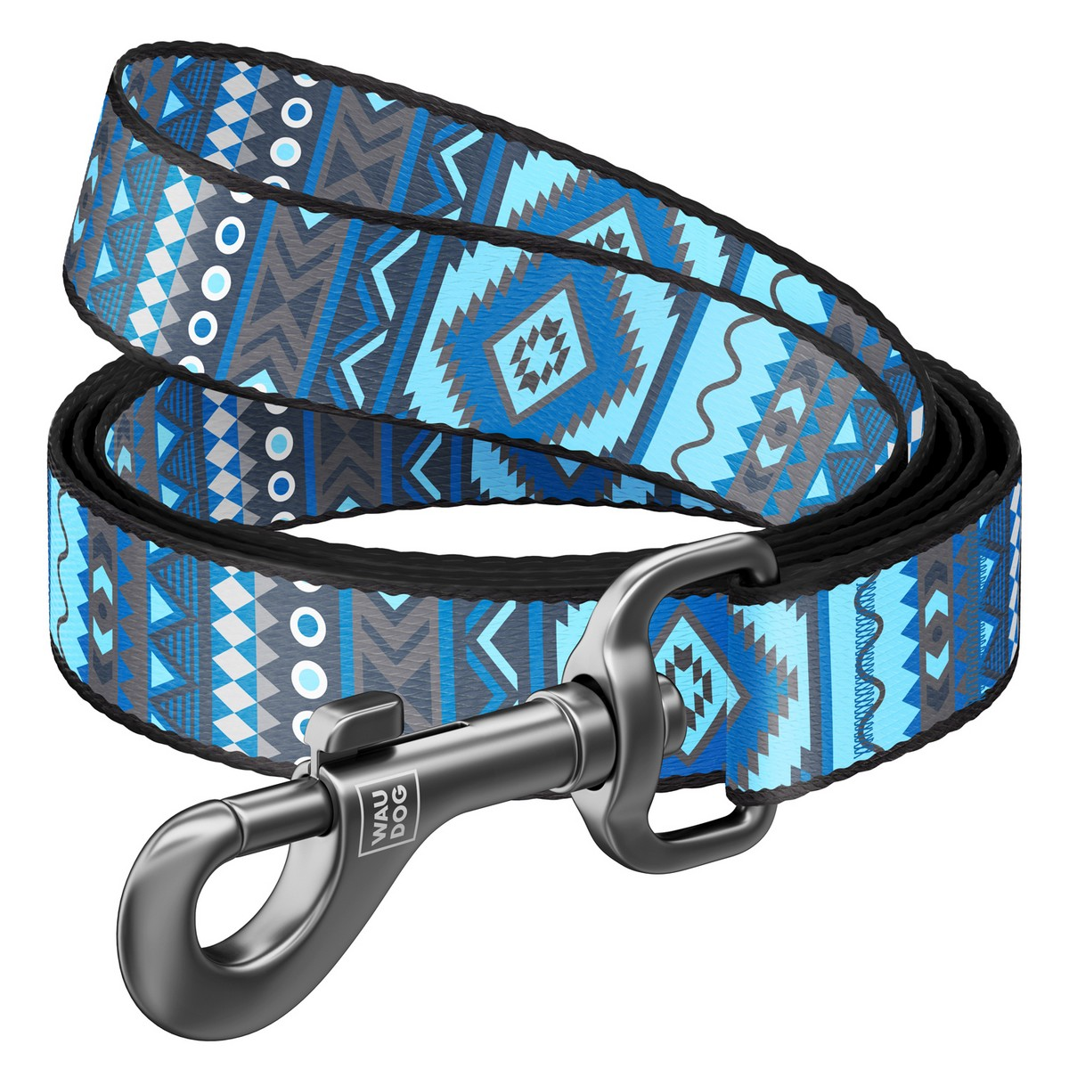 "WAUDOG Nylon dog leash with QR-passport, ""Ethno blue"""