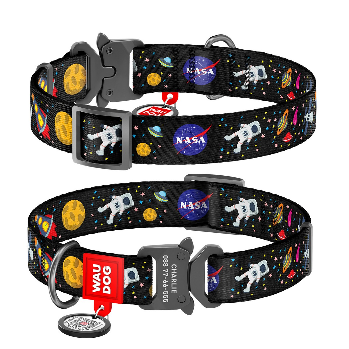 """WAUDOG Nylon dog collar with QR-passport, """"NASA"""", metal fastex buckle with an area for engraving and QR tag"""