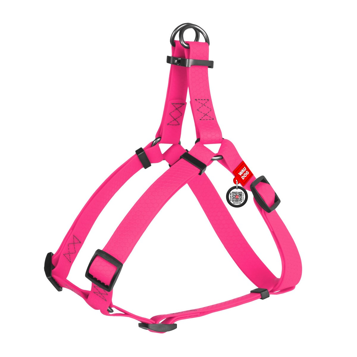 Шлея для собак WAUDOG Waterproof, металева пряжка-фастекс, рожевий