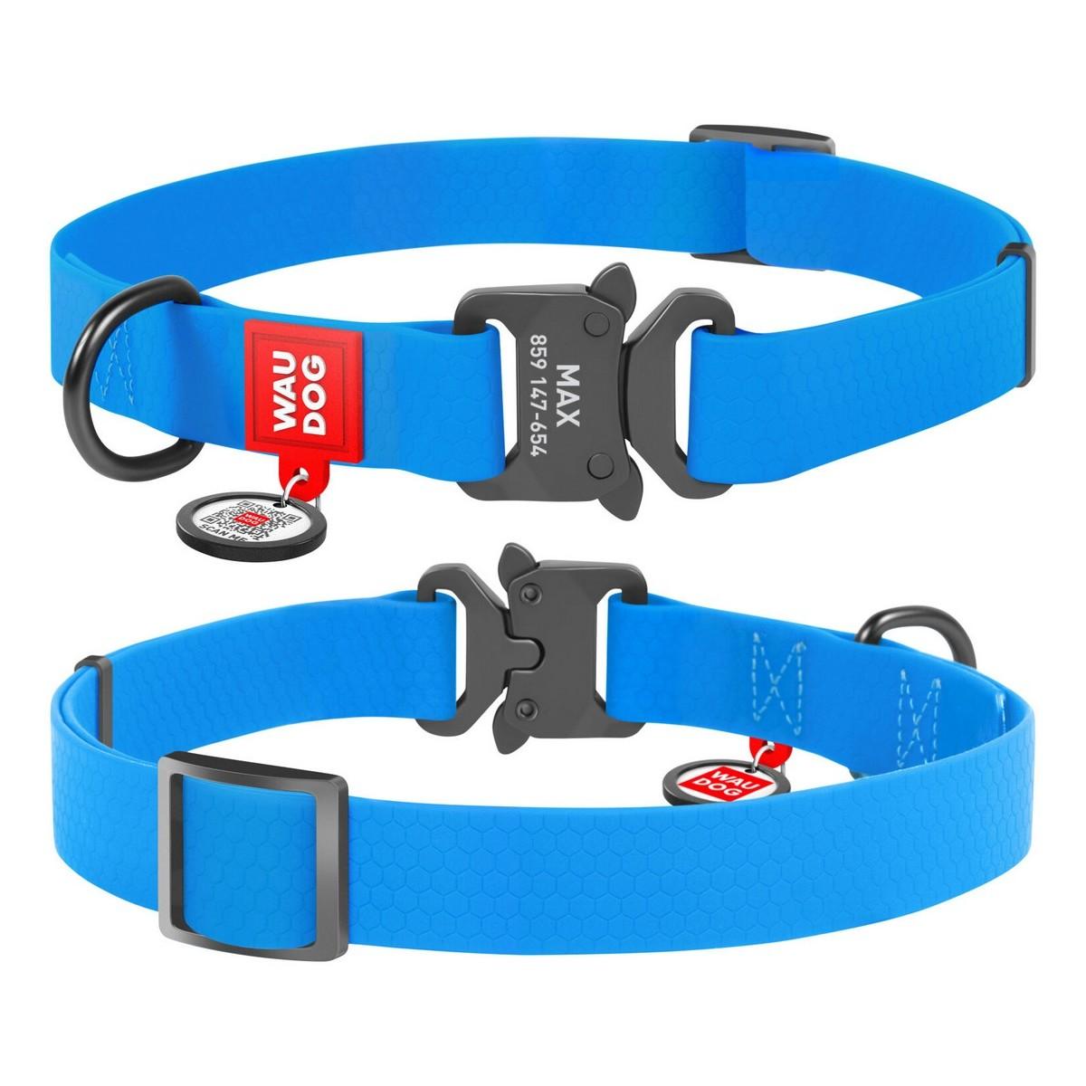 Нашийник для собак водостійкий WAUDOG Waterproof, металева пряжка-фастекс, блакитний
