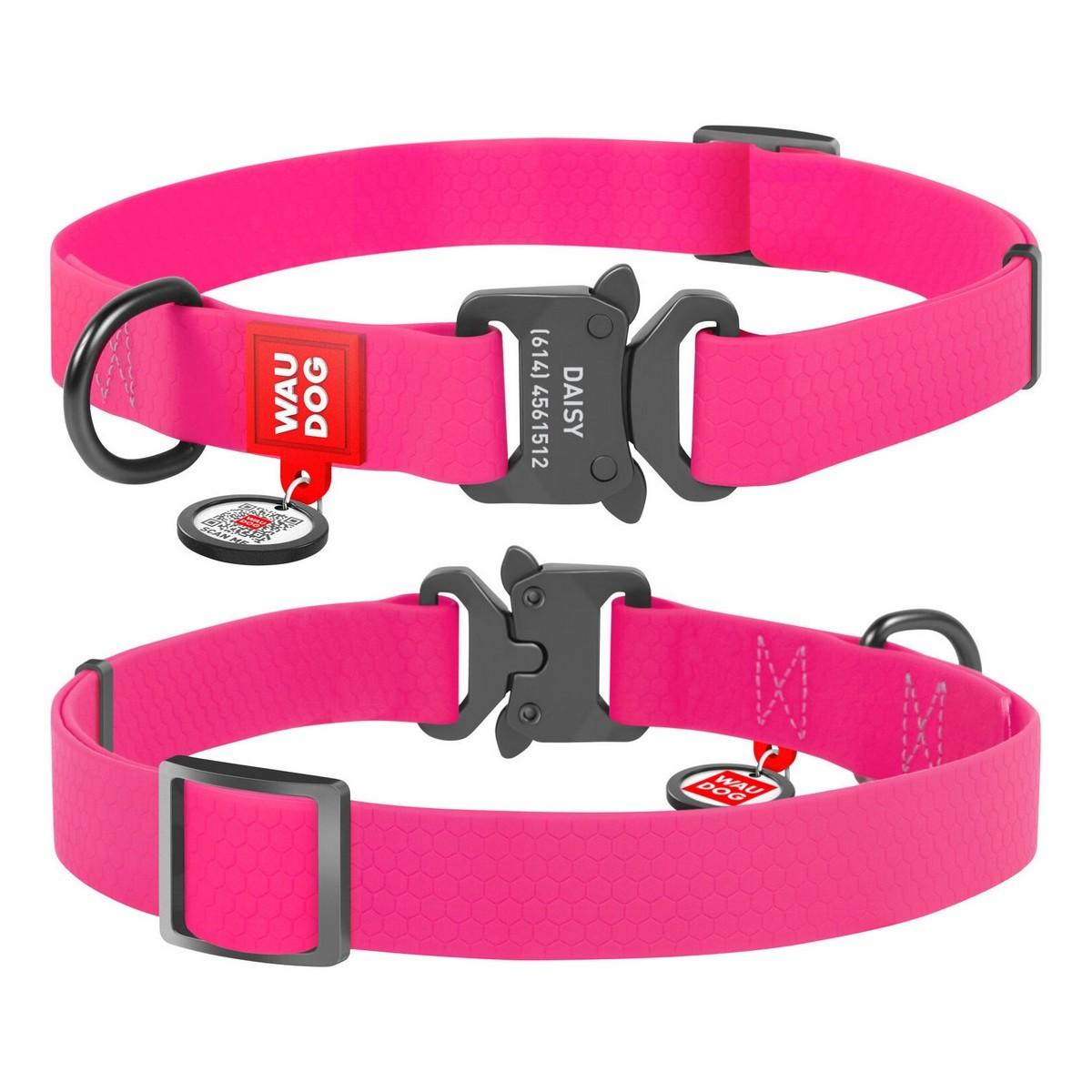 Нашийник для собак водостійкий WAUDOG Waterproof, металева пряжка-фастекс, рожевий